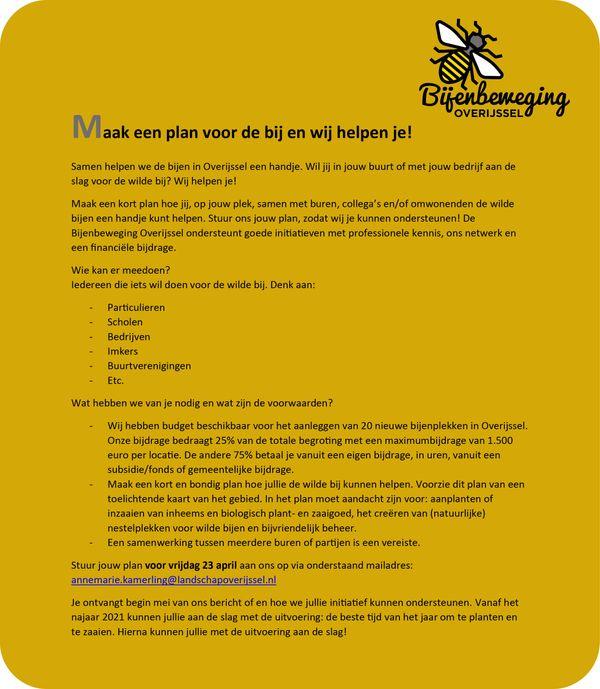 Bijenbeweging Overijssel ondersteunt financieel
