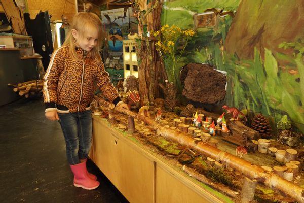 De 5 jarige Liena Spijkers bezoekt het kabouterbos met dino's